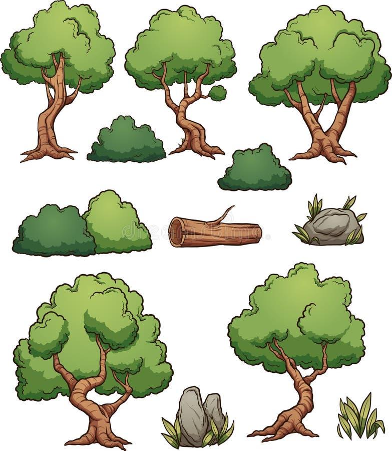 Árboles y arbustos de la historieta del bosque ilustración del vector