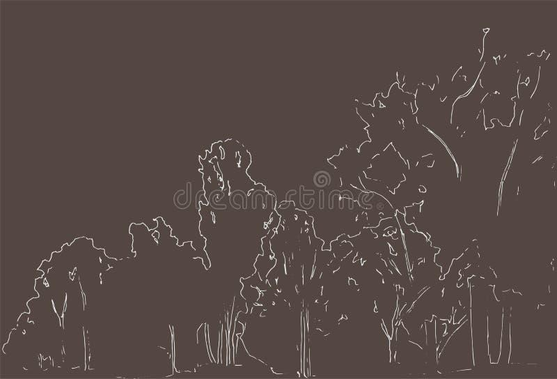 Árboles y bosquejo de los arbustos Dibujo linear del paisaje Ilustración drenada mano Bosque en el fondo blanco Línea negra diseñ ilustración del vector