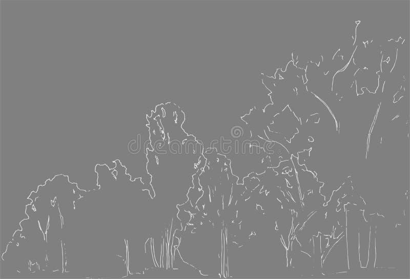 Árboles y bosquejo de los arbustos Dibujo linear del paisaje Ilustración drenada mano Bosque en el fondo blanco Línea negra diseñ libre illustration