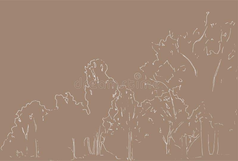 Árboles y bosquejo de los arbustos Dibujo linear del paisaje Ilustración drenada mano Bosque en fondo beige Naturaleza salvaje ilustración del vector