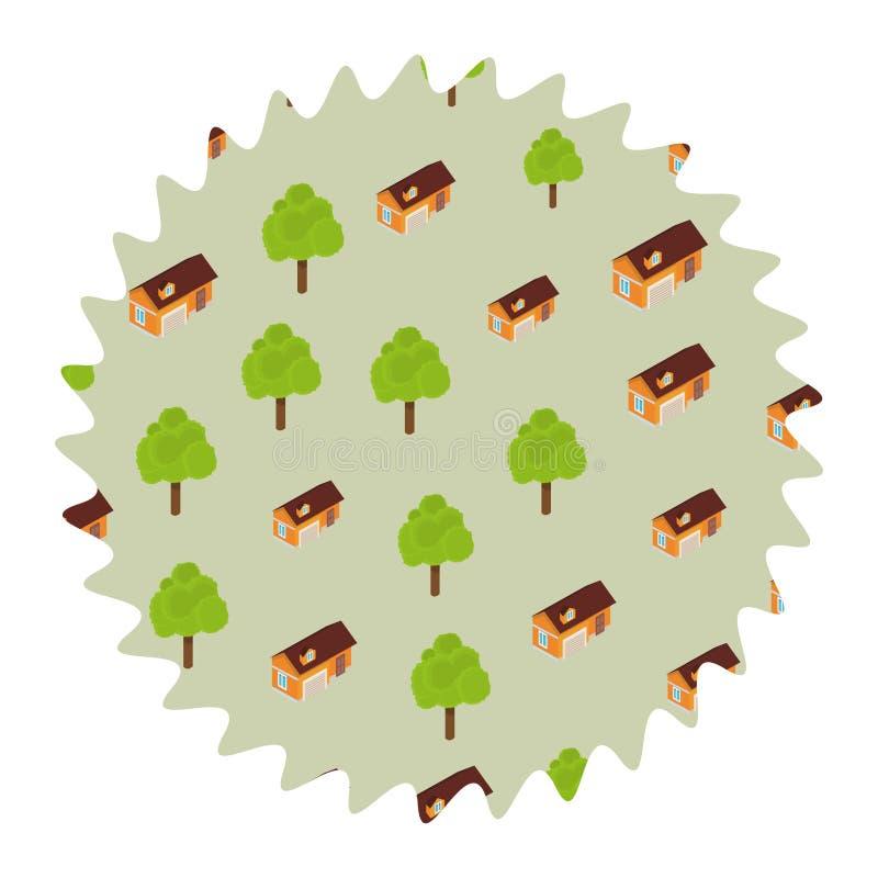 Árboles y casas alrededor de la etiqueta ilustración del vector