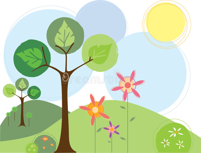 Árboles y flores del resorte ilustración del vector