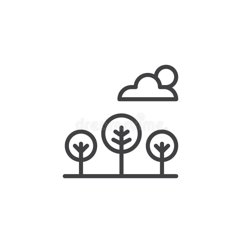 Árboles y nubes con el icono del esquema del sol ilustración del vector