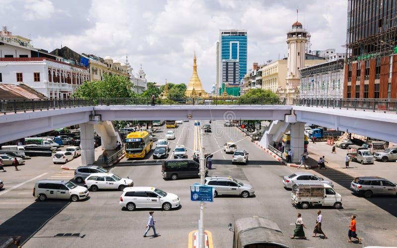 Área central de Yangon, Myanmar imagem de stock royalty free