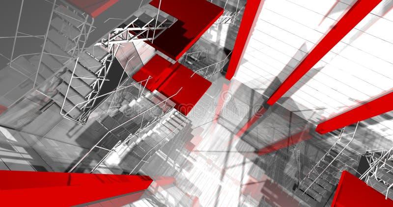 área 3d. Interior industrial moderno, escadas, espaço limpo no indu ilustração do vetor