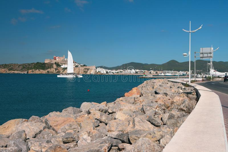 Área da água do porto Ibiza, Spain fotografia de stock royalty free