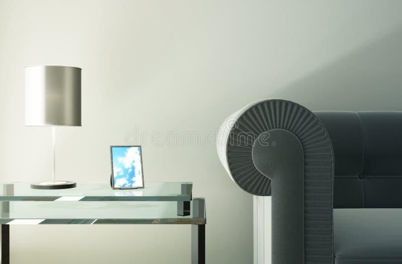 Área da imagem com um sofá e a tabela de vidro ilustração royalty free