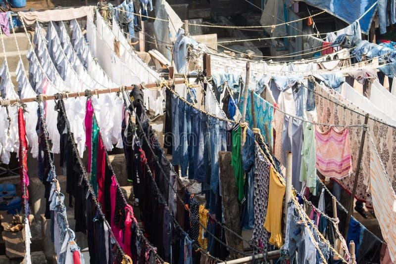 Área da lavanderia de Dhobi Ghat Mumbai foto de stock royalty free
