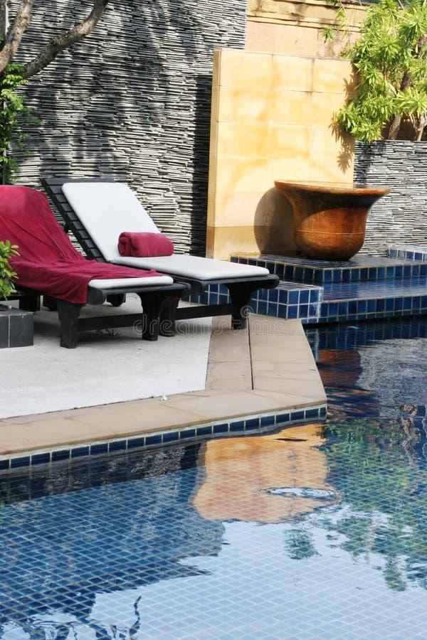 Área da piscina. fotografia de stock