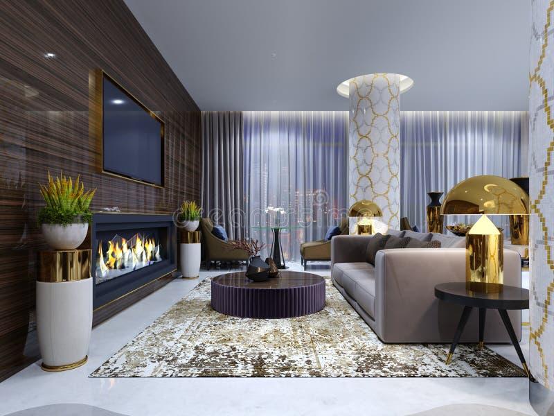 Área da sala de estar da chaminé em um hotel de luxo com um sofá macio, as poltronas e uma mesa de centro Parede de madeira com t ilustração stock