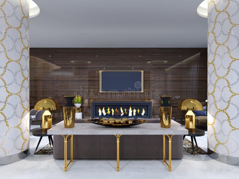 Área da sala de estar da chaminé em um hotel de luxo com um sofá macio, as poltronas e uma mesa de centro Parede de madeira com t ilustração do vetor