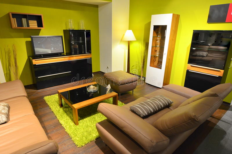 Área da sala de visitas do apartamento de estúdio imagens de stock