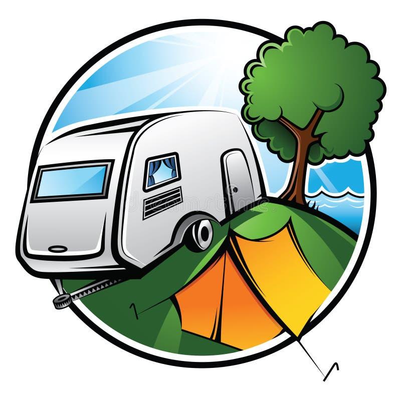 Área de acampamento ilustração stock