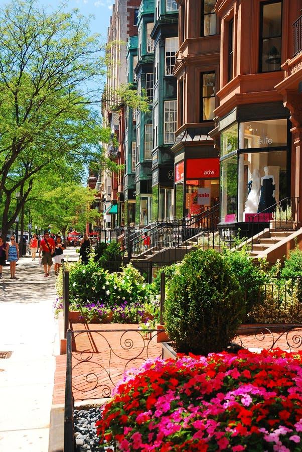 Área de compra da rua de Newberry, Boston fotografia de stock