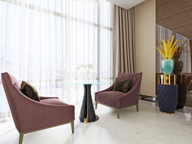 Área de espera com salas de estar no interior de um hotel bonito Duas cadeiras macias e uma tabela ilustração stock
