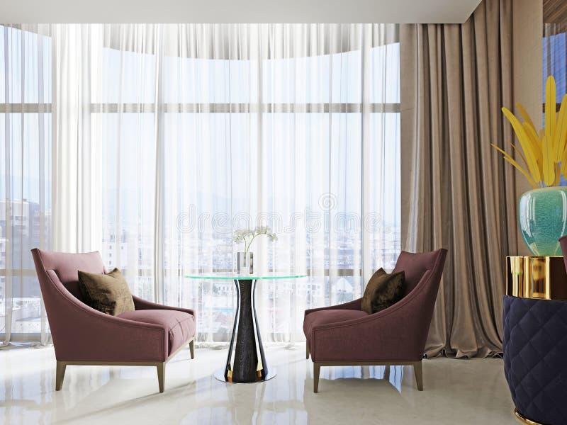 Área de espera com salas de estar no interior de um hotel bonito Duas cadeiras macias e uma tabela ilustração do vetor