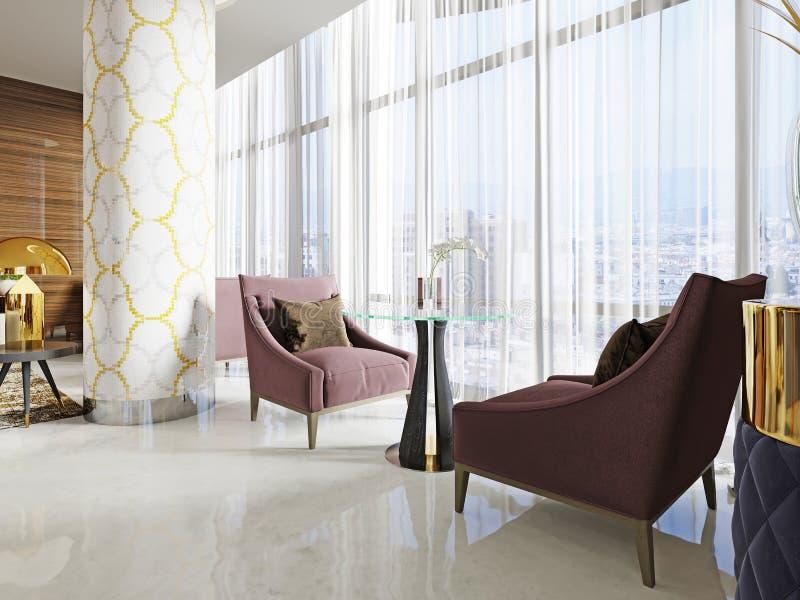 Área de espera com salas de estar no interior de um hotel bonito Duas cadeiras macias e uma tabela ilustração royalty free