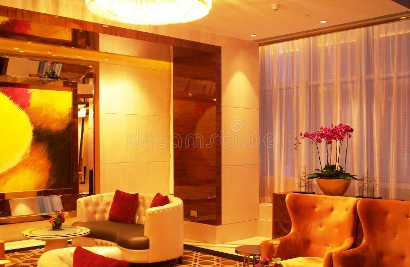 Área de espera dentro de um hotel de Macau imagens de stock