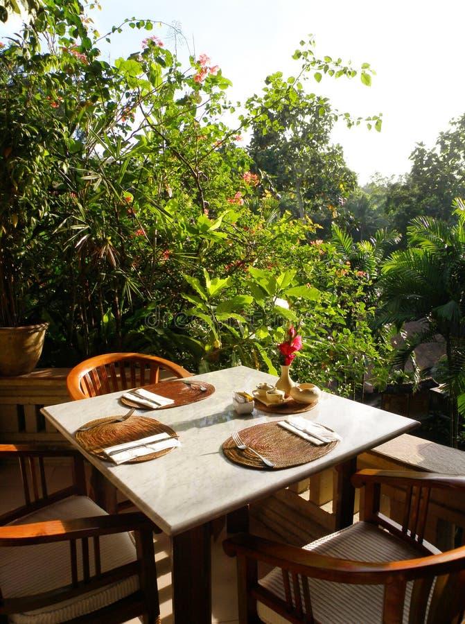 Área de jantar do fresco do Al do restaurante fotos de stock
