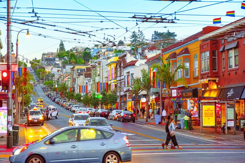 Área de la ciudad de Castro, racimo de cría gay de la lesbiana LGBT imagen de archivo libre de regalías
