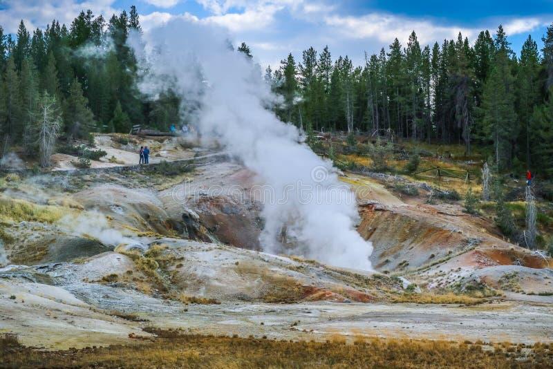 A área de Mammoth Hot Springs no parque nacional de Yellowstone, Wyoming imagem de stock royalty free