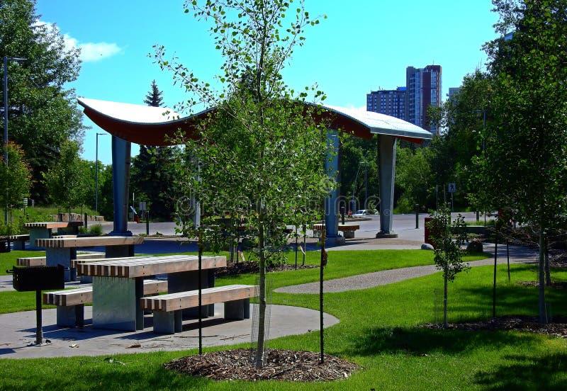 Área de Picknic em Edmonton do centro fotografia de stock royalty free