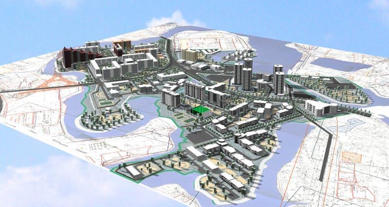 Área de proyecto de la ciudad ilustración del vector