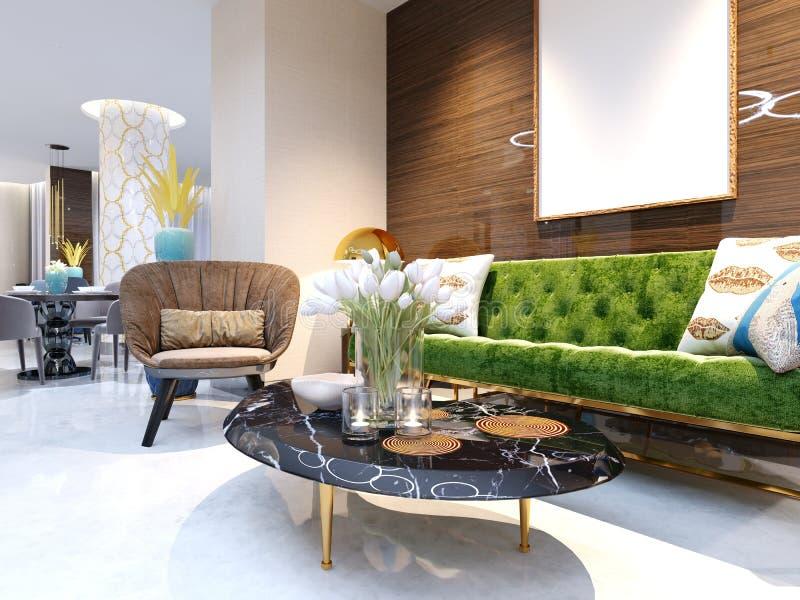 Área de recepción y gandulear área con muebles coloreados hermosos, un sofá con dos butacas, las piernas del metal y la tapicería libre illustration
