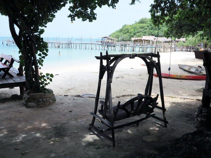A área de repouso na praia fotos de stock