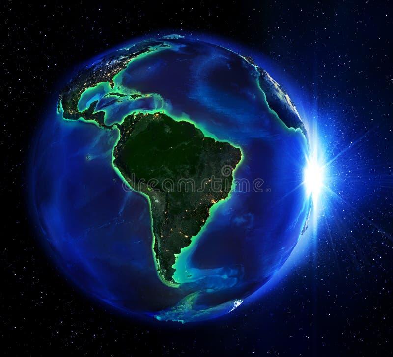 Área de terra em Brasil a noite ilustração do vetor