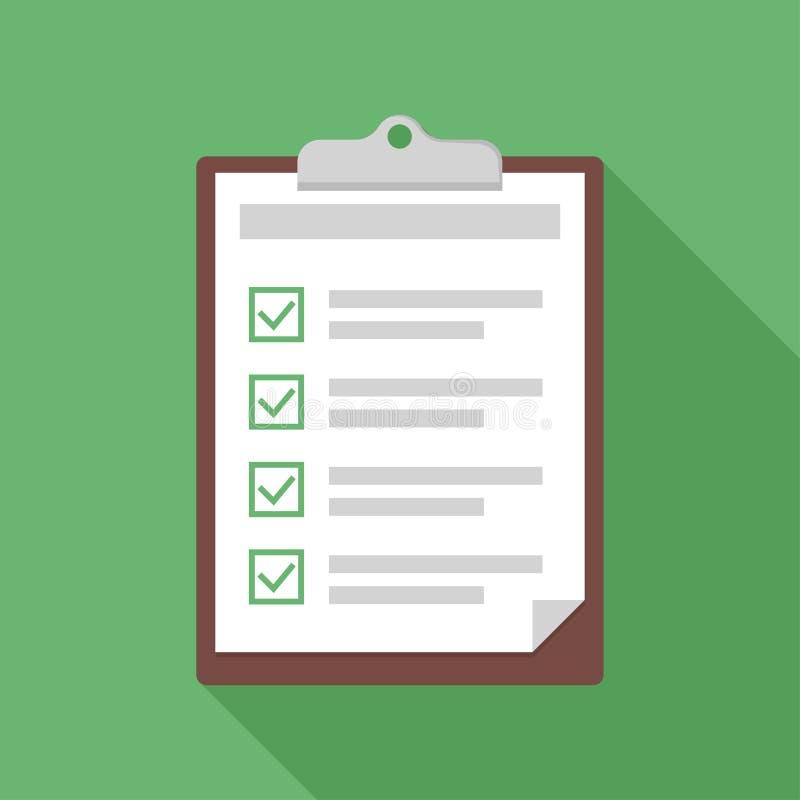 Área de transferência com checklist Exam ou formulário de teste com caixas de seleção Fundo verde com sombra ilustração do vetor