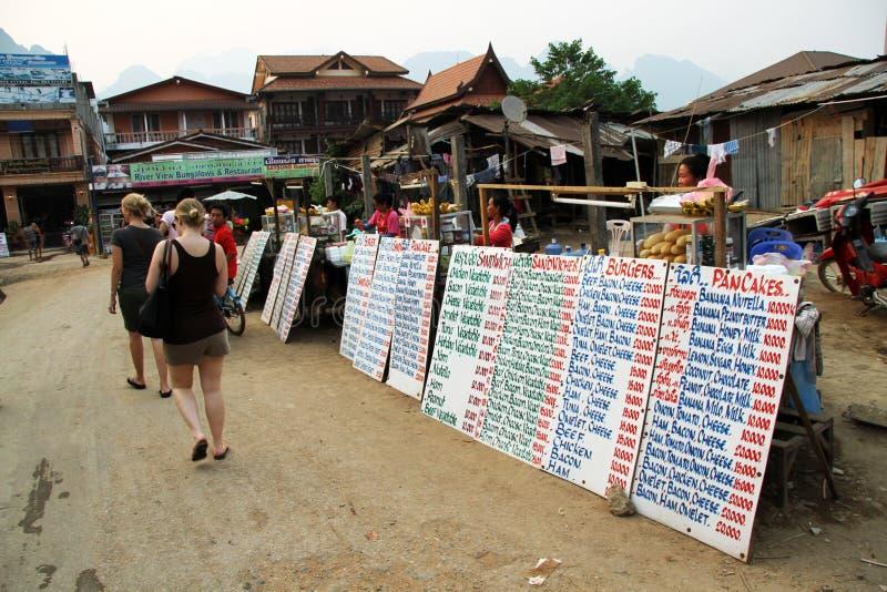 Área de turista Vang Vieng Laos foto de stock