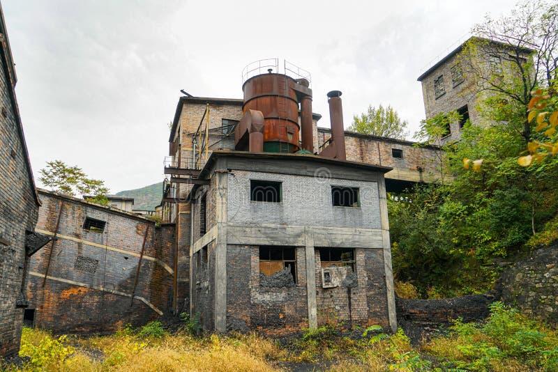 Área de vida del taller de construcción abandonado en la mina de carbón Wangping, Beijing, China fotos de archivo libres de regalías