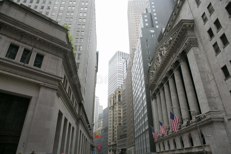 área de Wall Street, Manhattan, New York fotografia de stock royalty free