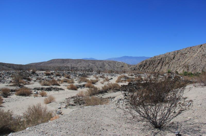 Área del desierto cerca de mil cotos del oasis de las palmas en el Coachella fotos de archivo