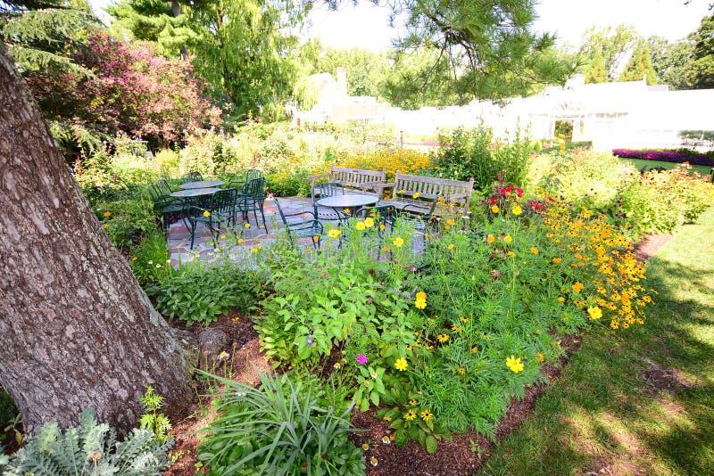Área del patio con las flores hermosas fotos de archivo