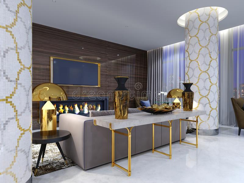 Área del salón de la chimenea en un hotel de lujo con un sofá suave, butacas y una mesa de centro Pared de madera con la TV incor ilustración del vector