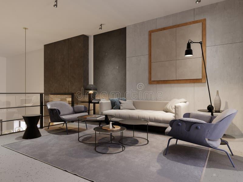 Área del salón del estilo del desván con el sofá, dos butacas y la decoración Muro de cemento del diseñador con los detalles Verj libre illustration