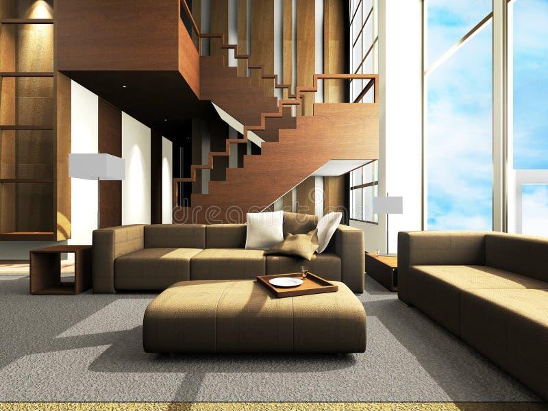 Área del sofá de una sala de estar moderna libre illustration