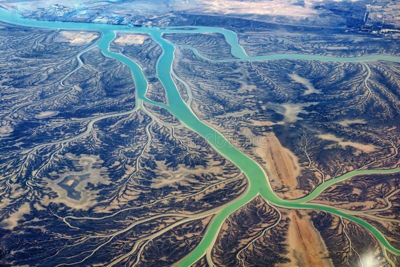 Área do al-Zubair de Khor do ramo do rio, Iraque foto de stock royalty free