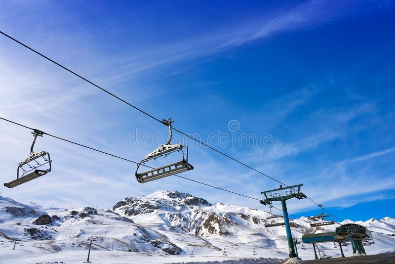 Área do esqui de Formigal na Espanha de Huesca Pyrenees imagens de stock