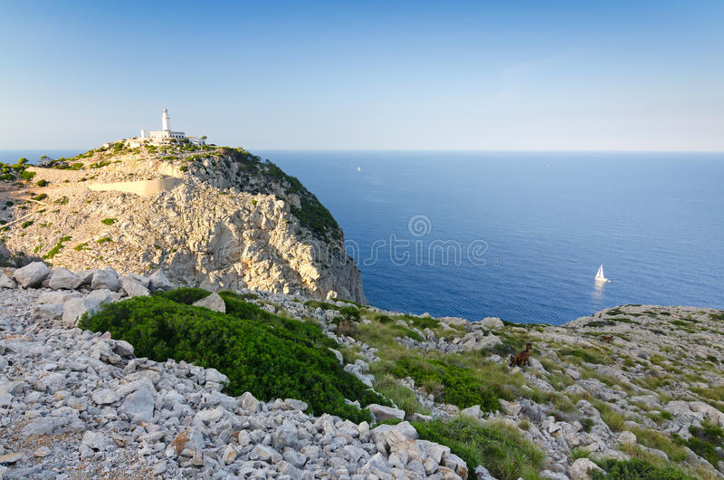 Área do farol de Formentor no por do sol fotografia de stock royalty free