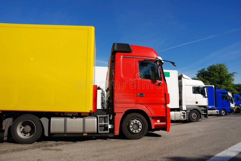 Área dos caminhões em repouso fotografia de stock