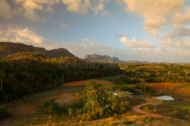 Área famosa do cigarro da terra de Cuba no por do sol, Vale de Vinales, C fotos de stock