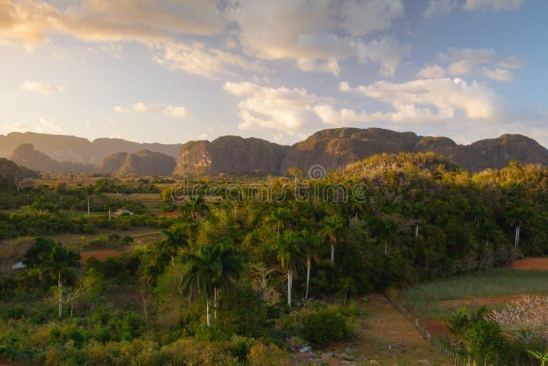 ?rea famosa do cigarro da terra de Cuba no por do sol, Vale de Vinales, Cuba foto de stock royalty free