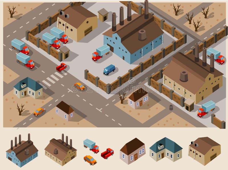 Área industrial isométrica ilustração stock