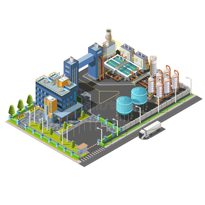Área industrial isométrica, planta, hidroeléctrica Fije los iconos stock de ilustración
