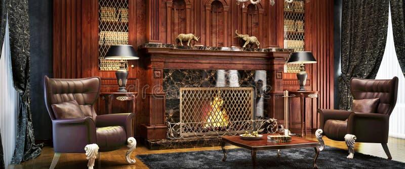 Área interior lujosa de la chimenea en una mansión costosa imágenes de archivo libres de regalías