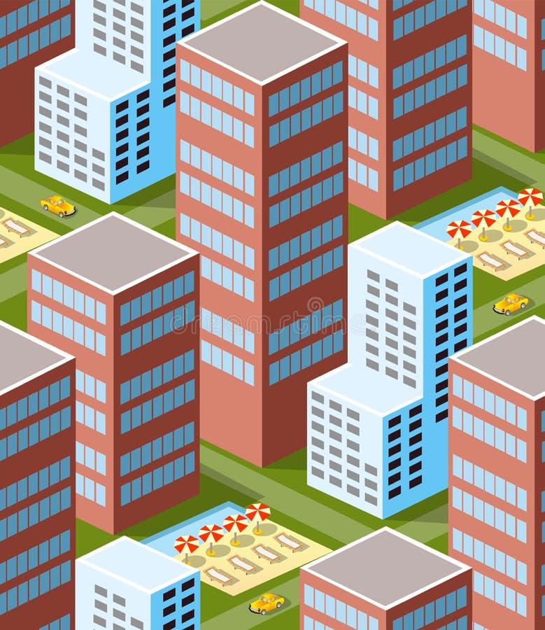 Área isométrica urbana ilustração do vetor