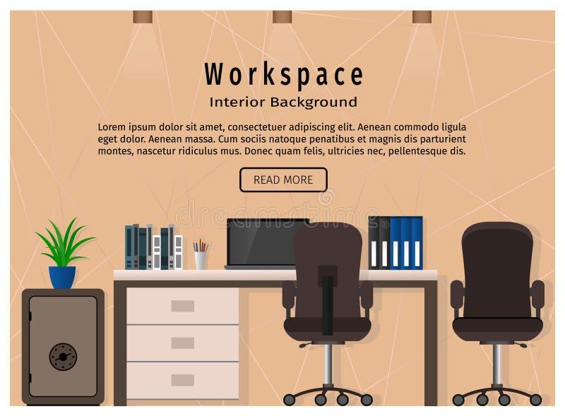 Área moderna del diseño de la oficina Concepto de la organización del lugar de trabajo Bandera del diseño web stock de ilustración
